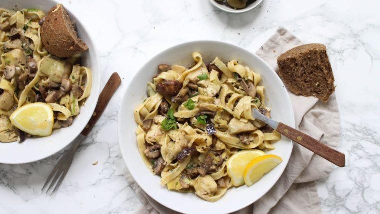 Beeld Spaghetti-met-aubergine-champignons-artisjok-Wakker-Dier