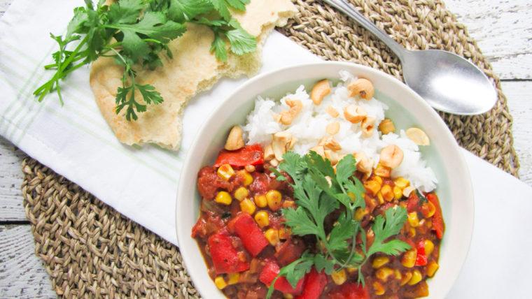 Romige curry met mais, paprika en koriander - Wakker Dier