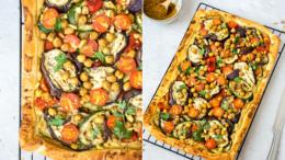 Plaattaart met gegrilde groenten en hummus -Wakker-Dier