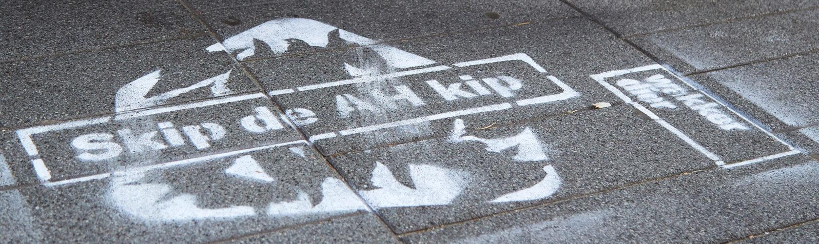 Beeld: krijtgraffiti op de stoep met de tekst Skip de AH kip