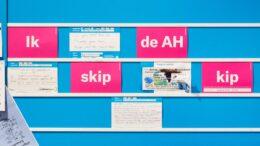 Beeld: prikbord in Albert Heijn winkel met Wakker Dier kaartjes: Skip de AH kip