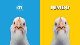 Beeld: een kip van Albert Heijn en een kip van Jumbo