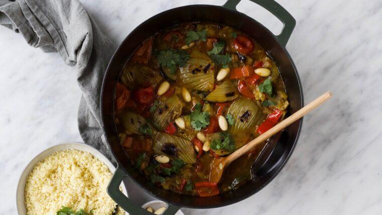 Tajine met couscous venkel en amandelen